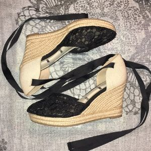 Elle lace wedges with ankle ties